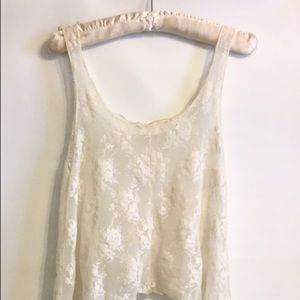 Mind Code Sheer Ivory Lace Butterfly Hem Crop Top